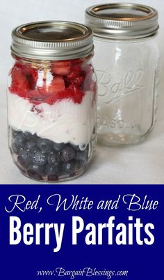Red, White and Blue Berry Parfaits #diy #4thofjuly
