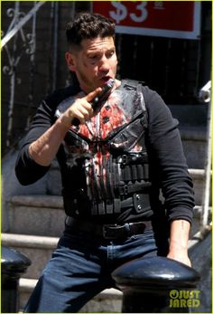 Jon Bernthal Gets Into a Gun Fight on 'The Punisher' Set: Photo Jon Bernthal films an action scene on the set of The Punisher season two on Monday (May in the Queens borough of New York City. Punisher Netflix, Punisher Marvel, Marvel Dc, Marvel Comics, Punisher Season 2, Frank Castle Punisher, Vigilante, Jon Bernthal, Comic Movies