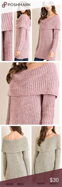 FOLD OVER RIB KNIT SWEATER A staple for the cooler months! Trendy fold over neck, ribbed material, 70% acrylic/30% polyester. Non sheer, knit, lightweight. IN ROSE. CHARCOAL AND TAUPE AVAILABLE IN SEPARATE LISTINGS. Measurements upon request. tla2 Sweaters Crew & Scoop Necks