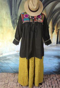 Dark Brown & Multi-Color Hand Embroidered Maya Blouse Chiapas Mexico Hippie Boho #Handmade #blouse