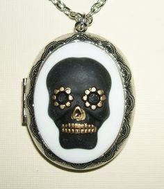 SUGAR SKULL CAMEO Necklace ;F-424ocket FOLK ART Hand Painted
