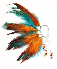 Feather Ear Cuff  Amber by Njuu on Etsy