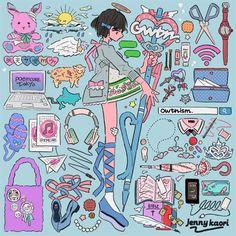 illustration by jenny kaori Aesthetic Art, Aesthetic Anime, Galaxy Drawings, Ouvrages D'art, Character Art, Character Design, Cute Art Styles, Pretty Art, Art Design
