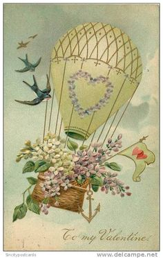 TO MY VALENTINE - BASKET OF FLOWERS IN HOT AIR BALLOON, BIRDS - PMB - PM 1908 - EMBOSSED V/F VINTAGE ORIGINAL POSTCARD