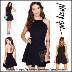 """NASTY GAL SKATER DRESS A-Line Mini LBD RETAIL PRICE: $90 Nasty Gal SKATER DRESS  * Double straps * Side zip & hook closure * Skater A-line silhouette  * About 35""""L * Crew neck  * Stretch-to-fit & fit-and-flare style  Fabric:87% nylon, 15% spandex   Color: Black Item: 93100 # bodycon body conscious bandage sexy club #pleated Short Strappy Open Cutout Back A Line No Trades ✅ Offers Considered*✅ *Please use the blue 'offer' button to submit an offer Nasty Gal Dresses Mini"""