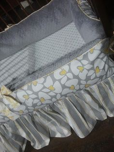 YOU DESIGN Custom 3 piece Crib Bedding Set - Bumper, Skirt and Sheet Yellow and Gray. $295.00, via Etsy.