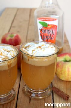 """To warm you up on a cold day, try this """"Better than Starbucks"""" Caramel Apple Cider. Using pure pressed apple juice (like Simply Apple) is key. Cocktails, Non Alcoholic Drinks, Fun Drinks, Yummy Drinks, Yummy Food, Beverages, Apple Recipes, Fall Recipes, Holiday Recipes"""