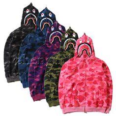 Hot Bathing Ape Bape Shark Jaw Camo Full Zipper Hoodie Sweats Coat Jacket Men's   Clothing, Shoes & Accessories, Men's Clothing, Sweats & Hoodies   eBay!