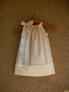 Ivory Pillowcase Dress with Eyelet Lace