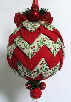 Red Berries on Green Vine Quilted Christmas Ornament  by QuiltedKpskOrnaments, $28.00