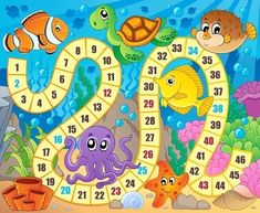 Illustration about Board game image with underwater theme 1 - vector illustration. Illustration of anemonefish, vectors, fish - 51358209 Board Game Template, Printable Board Games, Printable Numbers, Preschool Board Games, Abc Activities, Board Game Themes, Shapes For Kids, Games Images, Ocean Themes