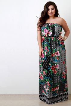 This plus size dress features a chiffon fabrication, multipatterned floral print design, empire waist construction, and elasticized off the shoulder neckline. Floral Print Design, Floral Prints, Plus Size Maxi Dresses, Plus Size Fashion, Hemline, Off The Shoulder, Chiffon, Fabric, How To Make