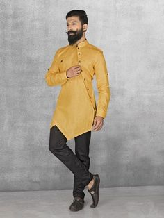 Shop Yellow linen fabric kurta suit online from G3fashion India. Brand - G3, Product code - G3-MKS0536, Price - 3995, Color - Yellow, Fabric - Linen, #MensFashionIndian
