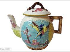 Wardle Majolica Bird and Fan Tea Pot