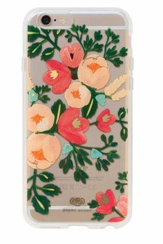 Clear peach blossom IPhone 6/6S case with gold foil details. Part of a new collaboration between Anna Bond of Rifle Paper Co. and Lauren Conrad of Paper Crown.   Iphone 6/6s Case by Rifle Paper Co. . Accessories - Tech Texas