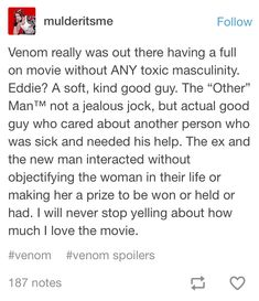 hollywood HAS to take notes. dan being more concerned over eddie's life than potentially being cheated on honestly shocked me, which is pretty bad Marvel Funny, Marvel Memes, Marvel Dc Comics, Marvel Avengers, Marvel Venom, Tumblr Posts, Marvel Cinematic Universe, Deadpool, Fandoms