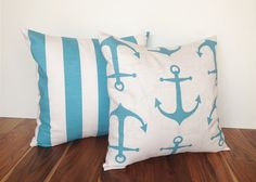 15% VALENTINES SALE Throw Pillow Covers. Coastal Blue Anchors and Stripes. 20 X 20 Inches. Beach Decor Cushion Covers