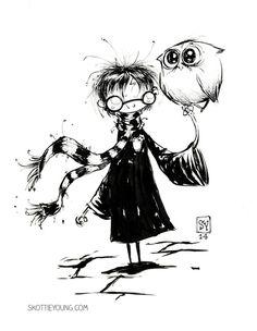 #DailySketch When in doubt, I draw Harry Potter. Original art...