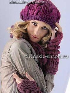 Берет спицами с описанием 2016 Baby Hat Knitting Pattern, Hand Knitting, Knit Crochet, Crochet Hats, Cable Knit Hat, Scarf Hat, Knitting Accessories, Girl With Hat, Baby Hats