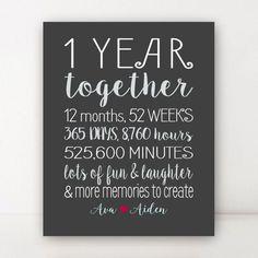 1 Year Anniversary Gift for Boyfriend by PrintsbyChristine on Etsy
