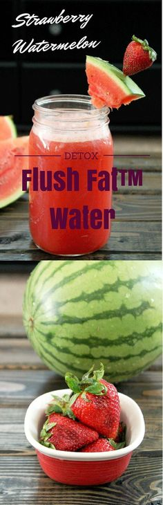 Strawberry Watermelon Flush Fat Water | Easy DIY Detox Water Recipe by DIY Ready at  http://diyready.com/diy-recipes-detox-waters/