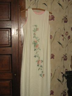 80s  off  white linen embroidery long  by Linsvintageboutique, $24.50