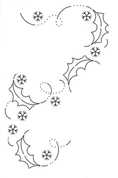 Christmas Doodle Snow Flakes And Holly Leaves