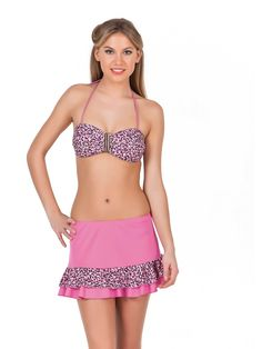 Раздельный купальник и пляжная юбка (Бюстгальтер балконет с пуш-апом)