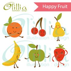 Happy fruit clipart - great for educational use, crafts and projects.