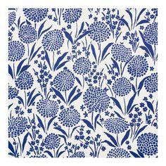 Sample - Schumacher Chrysanthemum Wallpaper in Blue