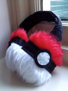 Pokeball Earmuffs  Pokemon  Ear Muffs  Fur  Felt by Snaarlz, £14.00