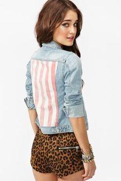 denim jacket and cheetah shorts