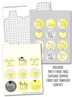 wedding or bridal shower printables, personalize the text to fit your event. diy engagement party printables. yellow and grey printables from party box design.