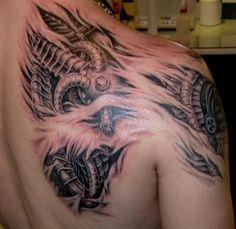 Mechanical tattoo #tattoo #bio #mech #mechanical #steampunk #tattoos