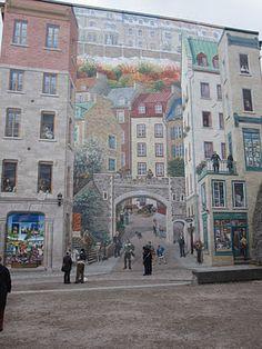trompe de l'oeil wall in Old Quebec City Fascinating art