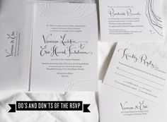 Do's and Don'ts of the RSVP | Rue with Kathryn Murray Calligraphy Letterpressed invitation suite