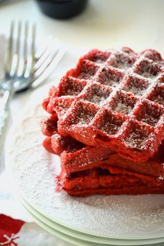 Red Velvet Waffles get their coloring from cocoa powder. Happy Valentine's Day!