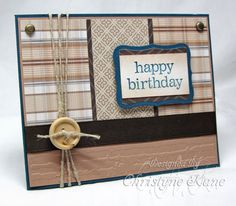 By Christyne Kane. You need 3 patterns of designer paper, mat on which to glue designer paper pieces (embossed at bottom in Cuttlebug), card base and image mat of same color, small piece of white cardstock on which to stamp sentiment, ribbon, button, twine, 2 brads.