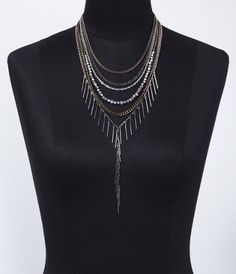 SIX-ROW NESTED STICK NECKLACE at Express.  Lets skip the clothes and pile on some serious jewelry instead.