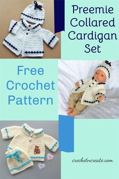 Free baby crochet pattern for preemie collared cardigan set on crochetncreate. #freebabycrochetpattern. Crochet Sweaters, Baby Sweaters, Crochet Hats, Doll Clothes Patterns, Clothing Patterns, Stitch Patterns, Crochet Patterns, All Free Crochet, Crochet Baby Clothes