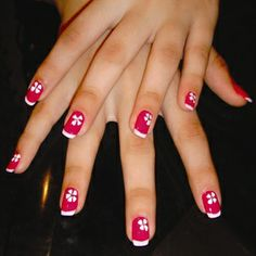 Indian rose red flower nails