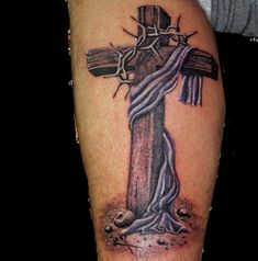 Check out The cross tattoo or other cross calf tattoo designs that will blow your mind, tattoo ideas that will be your next inspiration. Tattoos Arm Mann, Arm Tattoos For Guys, Trendy Tattoos, Body Art Tattoos, Sleeve Tattoos, Tattoos For Women, Religious Tattoos For Men, Wrist Tattoos, Jesus Tattoo