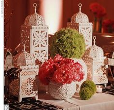 Moroccan lanterns make a statement when paired with bright florals.