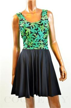 Pot Weed Marijuana Print Bodice Skater Dress