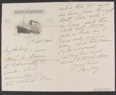 A letter from Ernest Shackleton to his wife, Emily. September 1916. Found on SPRI