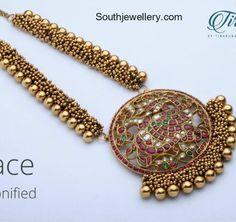 Antique Gajjalu Necklace with Kundan Pendant photo
