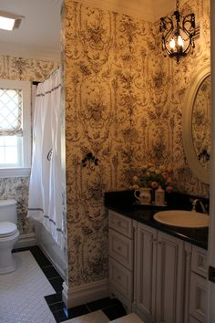 toile bathroom powder decor french country bathrooms decorating colonial farmhouse uploaded user cottage