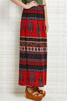 Staring at Stars Boho Maxi Skirt in Red at Urban Outfitters £42.00
