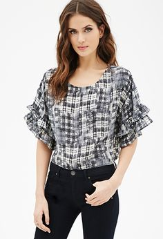 Abstract-Plaid Ruffled Bell Sleeve Top   FOREVER21 - 2000120686