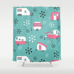Pink Campers on Aqua Shower Curtain by Julie\'s Thingummies